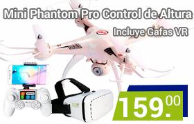 drone mini phantom con gafas vr